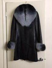 Real Leather Removable Real Fox Fur Collar Cuffs Coat Jacket S Black Fashion