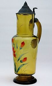 Schenkkrug Bier Wein mit Zinndeckel Glasmalerei