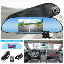 "5"" HD Touch Screen Dual Lens Car Rear View Mirror Camera Video Recorder DVR Kit"