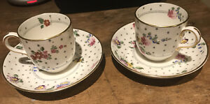 PAIR ROYAL WORCESTER ASTRAL COFFEE CUPS AND SAUCERS