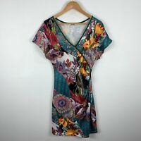 Smash Barcelona Dress Womens Size Small Multicoloured Floral Short Sleeve V-Neck