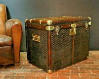 Antique Leather & Brass Bound Steamer Trunk By Goyard Aine