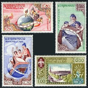 Laos 48-51, MNH Unesco Bâtiment, Globe, Mère & Enfants, Eiffel Tour, 1958