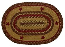 "IHF Home Decor New Oval 27"" x 48"" Braided Area Rug Jute Cinnamon Star Design"