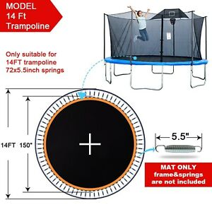 """150"""" Replacement Mat Fit 14ft Trampoline 5.5"""" Spring 72 Ring Jumping Surface"""