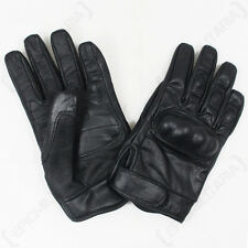 BLACK TACTICAL LEATHER GLOVES - Military Army Combat Reinforced Knuckles Airsoft
