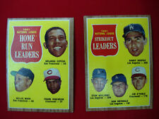 2- 1962 TOPPS BASEBALL LEAGUE LEADERS CARDS STRIKEOUTS & HR NAT. LEAGUE *NICE*
