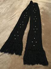 "Steve Madden Knit Tassel Scarf Black Silver Studs One Size 72"" Long"