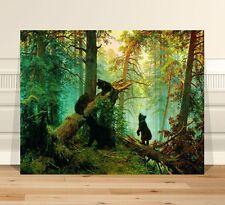 "Ivan Shishkin bear cubs in Mist ~ FINE ART CANVAS PRINT 18x12"""