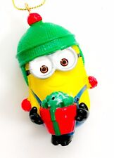 Despicable Me Minions Minion Dave Phil Red Present Green hat Christmas Ornament