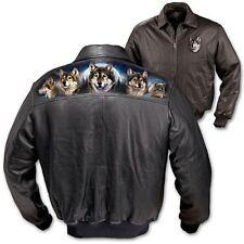Bradford Exchange Al Agne Spirit der Wilderness Schwarzes Leder Jacke Größe: M