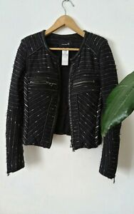 Isabel Marant Black Tweed Leather Trim Wool Fitted Jacket Size 0