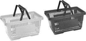 Plastic Shopping Baskets Pack of 4 Black & Grey 2 Handled Baskets
