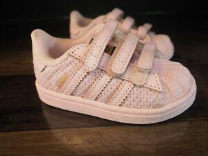 Adidas 4K Shoes Original Superstar Pink Ortholite Baby Toddler Vel-cro NEW