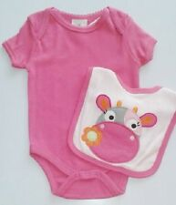 Novelty baby girl bodysuit vest bib set 12 18 months pink cow
