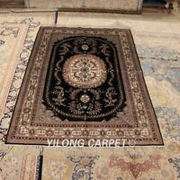 YILONG 4'x6' Blue Handknotted Silk Area Rug Antistatic Home Indoor Carpet  064M