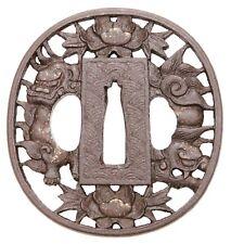 Antique Japanese Tsuba Iron Namban Shi Shi Foo Dog Katana Koshirae Sword Guard