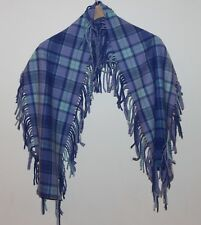 Johnstons of Scotland Blue Lavender Plaid Fringe Wool Scarf NWOT Lambswool