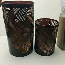 Home Accent 2 pcs set Metal Brown and Copper color Candle Holders