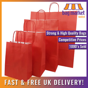Strong Red Ribbed Twisted Handle Paper Bags | Xmas/Shop/Gift/Fashion/Party/Kraft