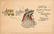 Christmas~Edwardian Lady~Cape~Armful Gifts~Toddler Girl~Stage Coach at Gate~1912