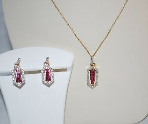 New 14K Yellow Gold Ruby Diamond Earrings Pendant Necklace Set Retail