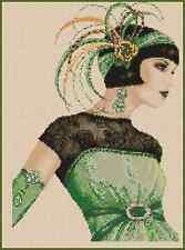 Art Deco Lady In Green Counted Cross Stitch No. 1-30b