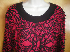 NEW NWT womens black red ELEMENTZ dressy ruffle shirt knit top size S