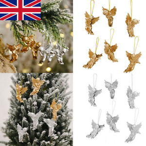 Pack of 6 Gold Silver Angel Christmas Tree Xmas Hanging Pendant Decorations UK
