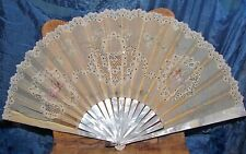 antique french? fan silk organza lace painted cherubs sequins mother of pearl