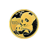 Lot of 4 x 8 gram 2019 Chinese Panda Gold Coin