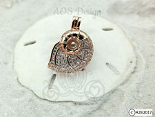 Nautilus Shell Pick A Pearl Cage Rose Gold Plated Mermaid Crystals CHARM ONLY