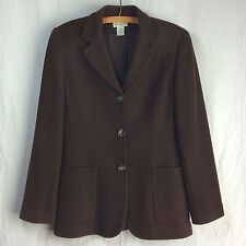 Anne Taylor Fitted WOOL JACKET  Lined 3-button Brown Size 4 blazer womens