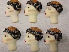 6 GOLD FLAPPER HAT LADYS HANDPAINTED BROOCH BLANK VTG LOT JEWELRY FINDINGS CRAFT