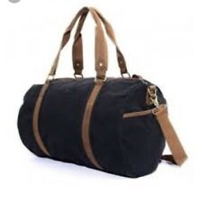 Clelo Vintage Black Canvas Duffle Bag Brown Leather Details (110)