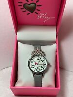 Betsey Johnson Good To Be Queen Silver Crown Tiara Watch Gray Band $69.00
