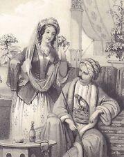 Lithographie XIXe Turquie Couple Jeune Femme Turque Turc Chibouk Turban