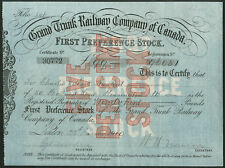 Canada: Grand Trunk Railway Co. of Canada, premier PREF Stock, 1910