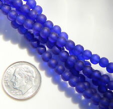 Round Beads, 4mm, Royal Blue w/Frosted, Matte, Seaglass Finish, 21 Pieces