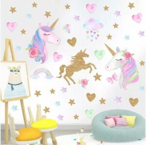 Unicorn Hearts Stars Removable Wall Stickers Decals Girls Pink