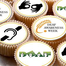 24 Edible cake toppers decorations raising money for deaf awareness week