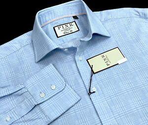 Thomas Pink Bourne Check Classic Fit Dress Shirt, Pale Blue/White 16 x 34.5