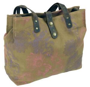 Canvas Damen Handtasche Schultertasche mit Leder-Besatz Umhängetasche Hobo Bag