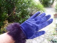 gants velours violets, poignet «fourrure» t.7,5