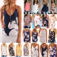 Floral Women Summer Vest Top Sleeveless Shirt Blouse Casual Tank Boho T-Shirt