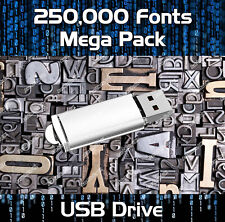 250,000 ROYALTY FREE FONTS COLLECTION USB - PUBLISHING, WEB, GRAPHIC DESIGN