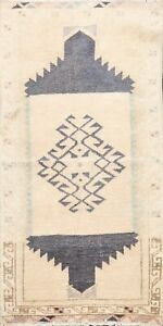 Muted Geometric Authentic Oushak Turkish Area Rug Hand-knotted Foyer Carpet 2x3