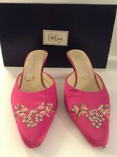 COLLETTE DINNIGAN 'COLLETTE' FUCHSIA PINK SATIN FLORAL BEAD SEQUIN MULES SIZE 38