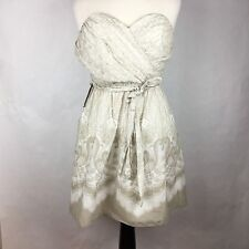 Express Women Dress Size 6 Gray White Strapless Wrap Ruched Belt Fit Flare NWT