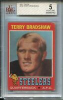 1971 Topps Football #156 Terry Bradshaw Rookie Card RC Graded BVG 4.5 Steelers